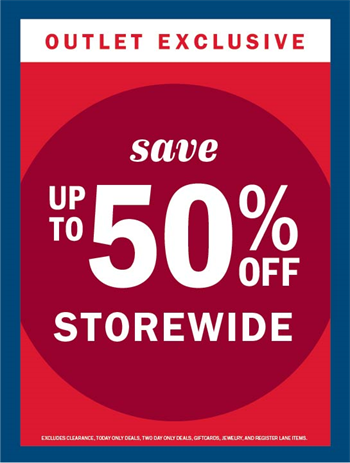 f94d7b08a UP TO 50% OFF STOREWIDE - Tanger Outlets | Charleston, SC | Deals ...